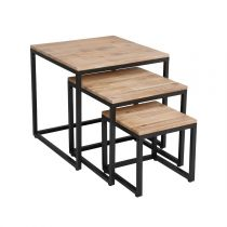 "Lot de 3 Tables Basses Gigognes ""Edena"" Naturel"