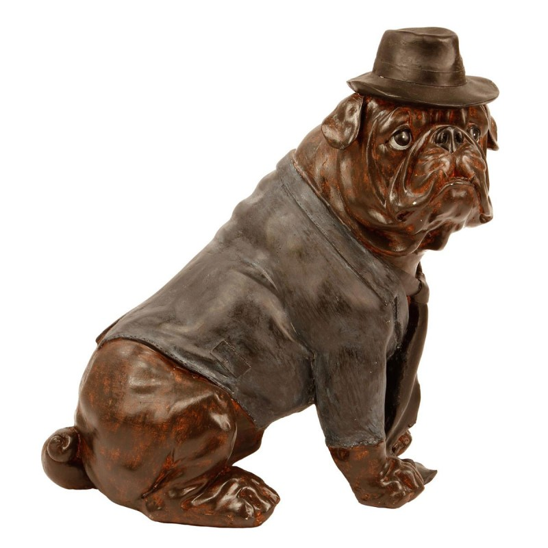 statue chien assis bulldog 44cm cuivre. Black Bedroom Furniture Sets. Home Design Ideas