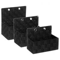 Lot de 3 Paniers à Accrocher 24cm Noir