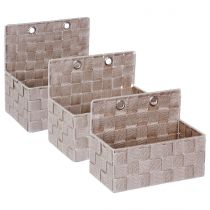 Lot de 3 Paniers à Accrocher 24cm Taupe