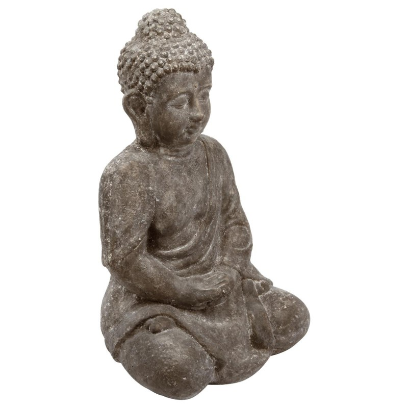 statue bouddha assis en ciment 46cm gris. Black Bedroom Furniture Sets. Home Design Ideas