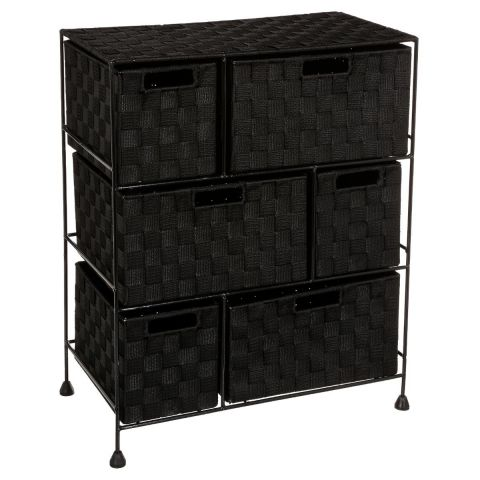 meuble de rangement 6 tiroirs 60cm noir. Black Bedroom Furniture Sets. Home Design Ideas