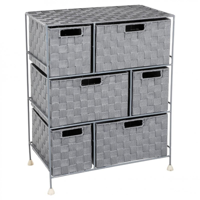meuble de rangement 6 tiroirs 60cm gris clair. Black Bedroom Furniture Sets. Home Design Ideas