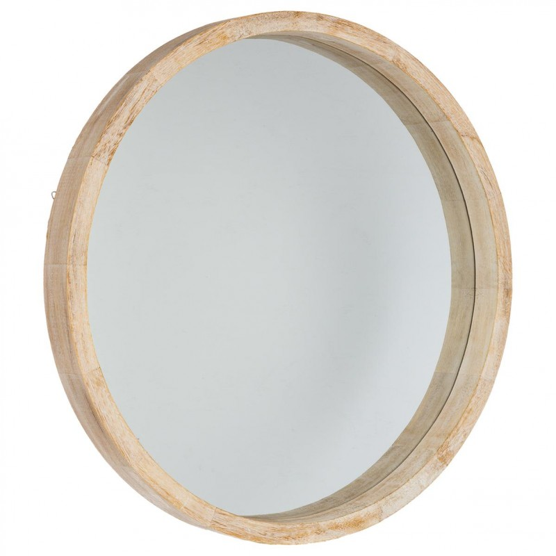 Miroir rond bois scandinave 52cm marron for Grand miroir rond