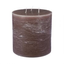 "Bougie Ronde ""Rustic"" 14cm Taupe"
