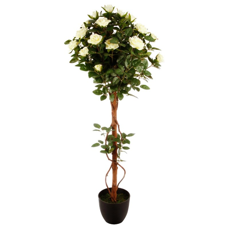 Plante artificielle rosier 90cm vert for Plante 90 cm
