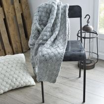 "Plaid Rectangulaire ""Maille"" 120x160cm Gris"