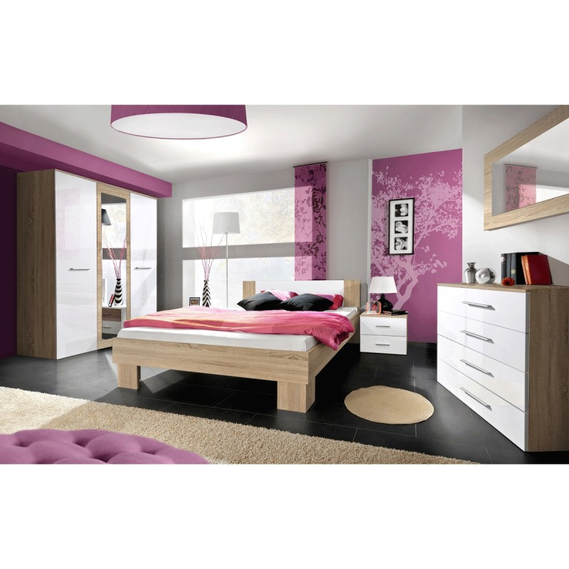 Chambre compl te adulte 6p vicky 160x200cm blanc ch ne for Chambre adulte complete blanc