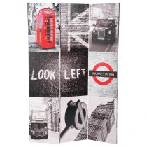 "Paravent en Bois ""London"" 120x180cm Gris & Rouge"