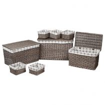 "Lot de 3 Malles & 6 Paniers de Rangement ""Memories"" Marron"