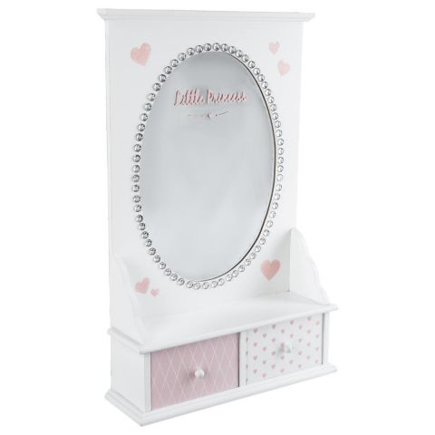 coiffeuse de table enfant princesse 50cm blanc rose. Black Bedroom Furniture Sets. Home Design Ideas