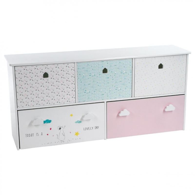 meuble de rangement enfant 5 tiroirs sweety 114cm multicolore. Black Bedroom Furniture Sets. Home Design Ideas