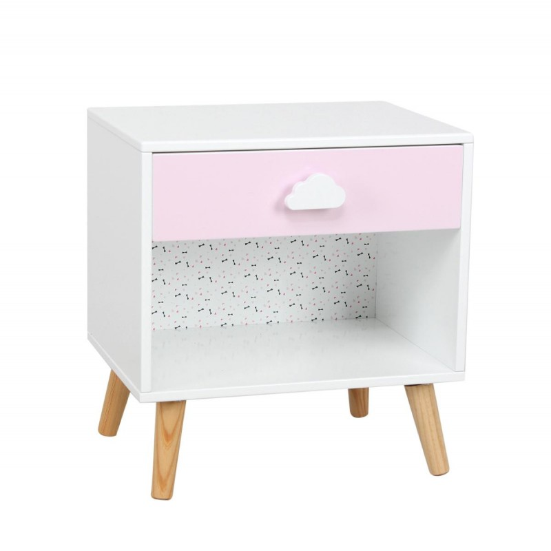 table de chevet enfant sweety 40cm blanc rose. Black Bedroom Furniture Sets. Home Design Ideas