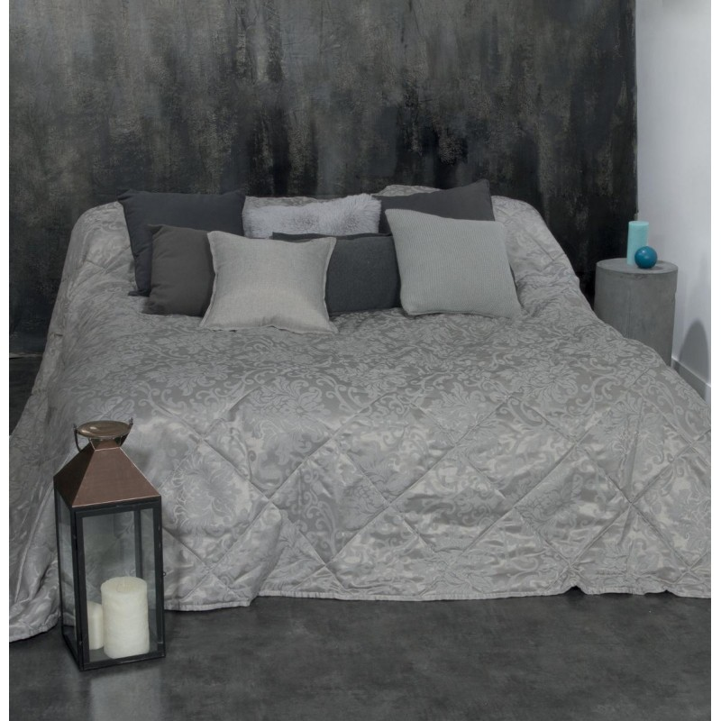 dessus de lit arabesque 240x260cm gris clair. Black Bedroom Furniture Sets. Home Design Ideas