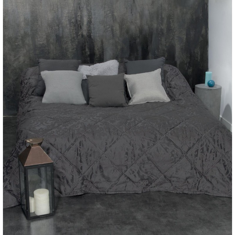 dessus de lit arabesque 240x260cm gris fonc. Black Bedroom Furniture Sets. Home Design Ideas