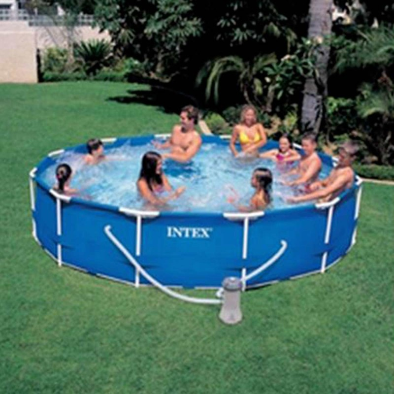 Kit piscine ronde tubulaire 366x76cm bleu for Piscine hors sol tubulaire ronde
