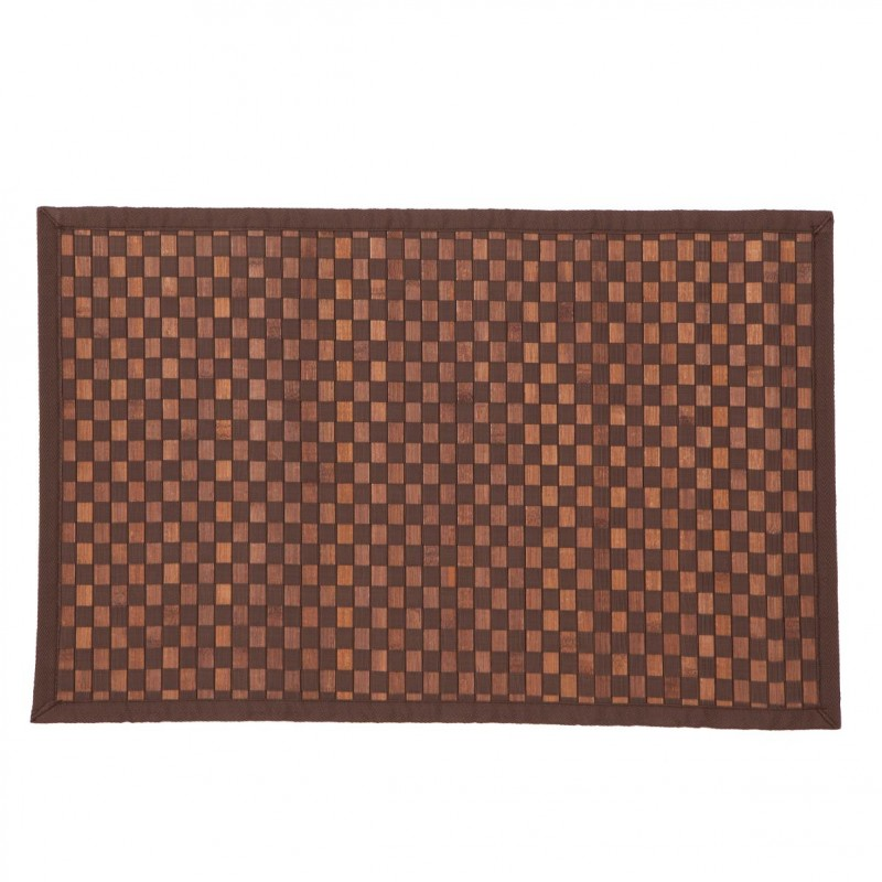 tapis en bambou damier 170cm chocolat. Black Bedroom Furniture Sets. Home Design Ideas