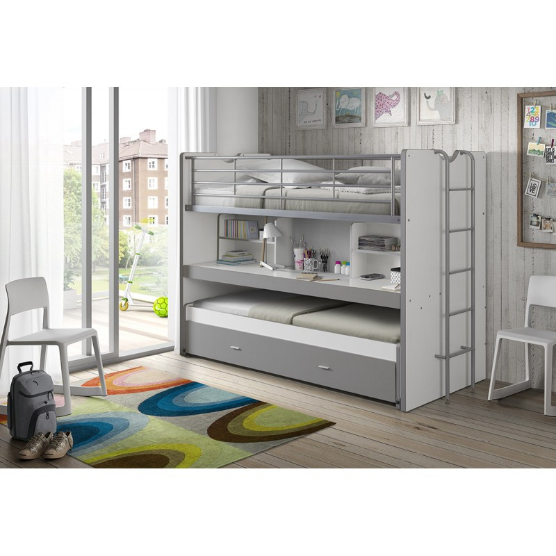 Lit superpos enfant bonny gris - Lit superpose 3 places ikea ...