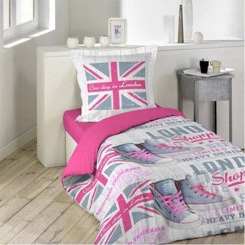 parure de lit 2 pi ces girly london 140x200cm. Black Bedroom Furniture Sets. Home Design Ideas