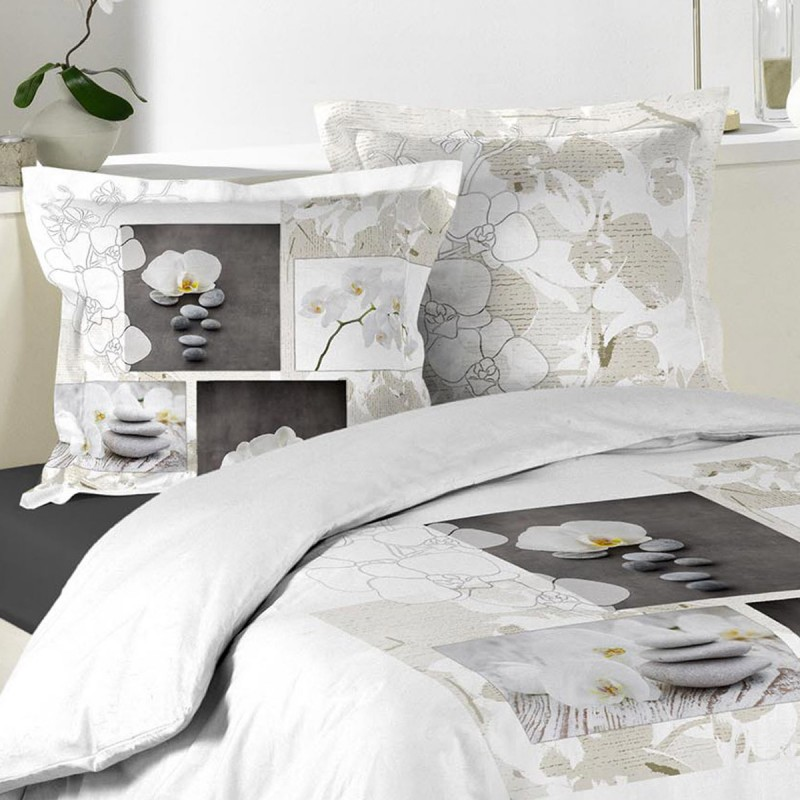 parure de lit 3 pi ces orchidea zen 220x240cm. Black Bedroom Furniture Sets. Home Design Ideas
