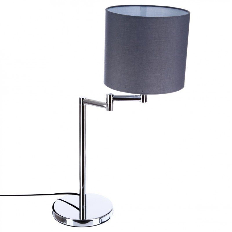 lampe poser m tal chrome 54cm gris. Black Bedroom Furniture Sets. Home Design Ideas