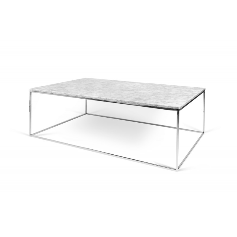 Temahome table basse gleam 120cm marbre blanc m tal for Table basse marbre