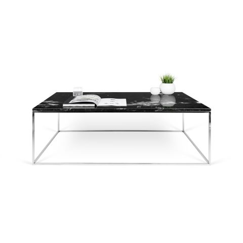 temahome table basse gleam 120cm marbre noir m tal chrom. Black Bedroom Furniture Sets. Home Design Ideas