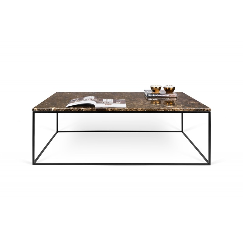 Temahome table basse gleam 120cm marbre marron m tal - Table basse metal noir ...