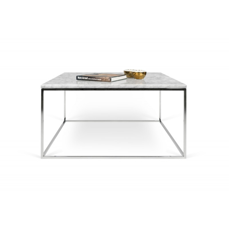 temahome table basse gleam 75cm marbre blanc m tal chrom. Black Bedroom Furniture Sets. Home Design Ideas