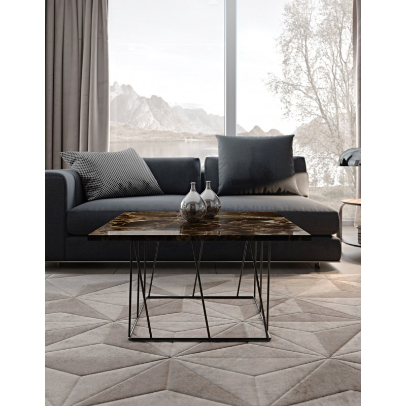 temahome table d 39 appoint design helix 50cm marbre marron m tal noir. Black Bedroom Furniture Sets. Home Design Ideas