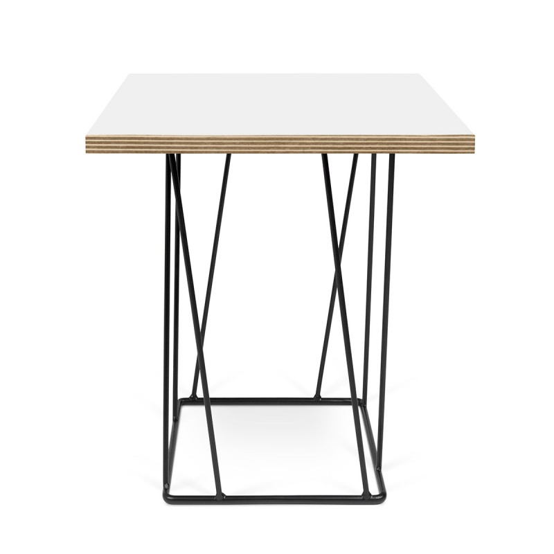 Temahome table d 39 appoint design helix 50cm blanc mat for Table blanc mat