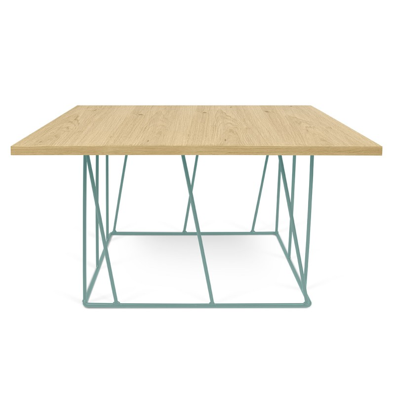 Temahome table basse helix 75cm ch ne m tal vert d 39 eau for Table basse chene metal