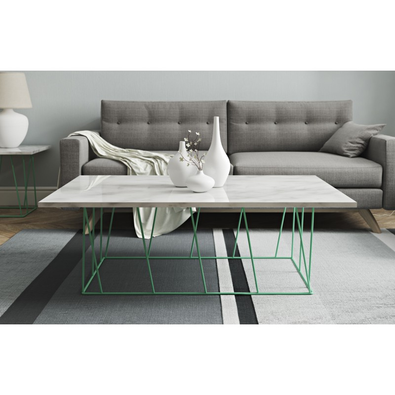 Temahome table basse helix 120cm marbre blanc m tal for Table basse scandinave vert d eau