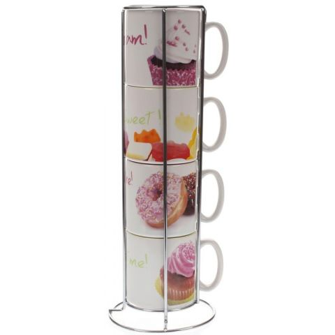 "Set de 4 Mugs & Support ""Gourmandise"" N°1"