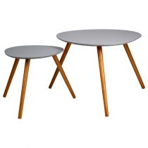 "Set de 2 Tables d'Appoint Design ""Mileo"" Gris"