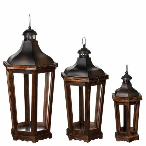 "Lot de 3 Lanternes Octogonales ""Charme"" Naturel"