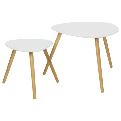 "Set de 2 Tables d'Appoint Design ""Mileo"" Blanc"