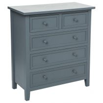 """Commode 5 Tiroirs """"Charme"""" Gris"""