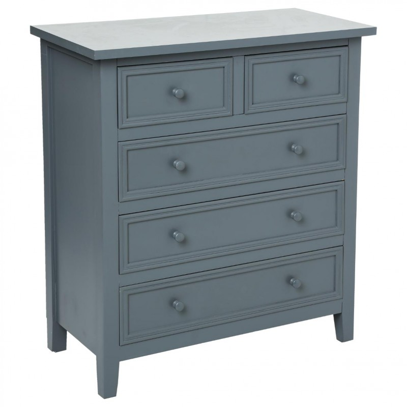 Commode 5 tiroirs charme gris - Commode grise tiroirs ...