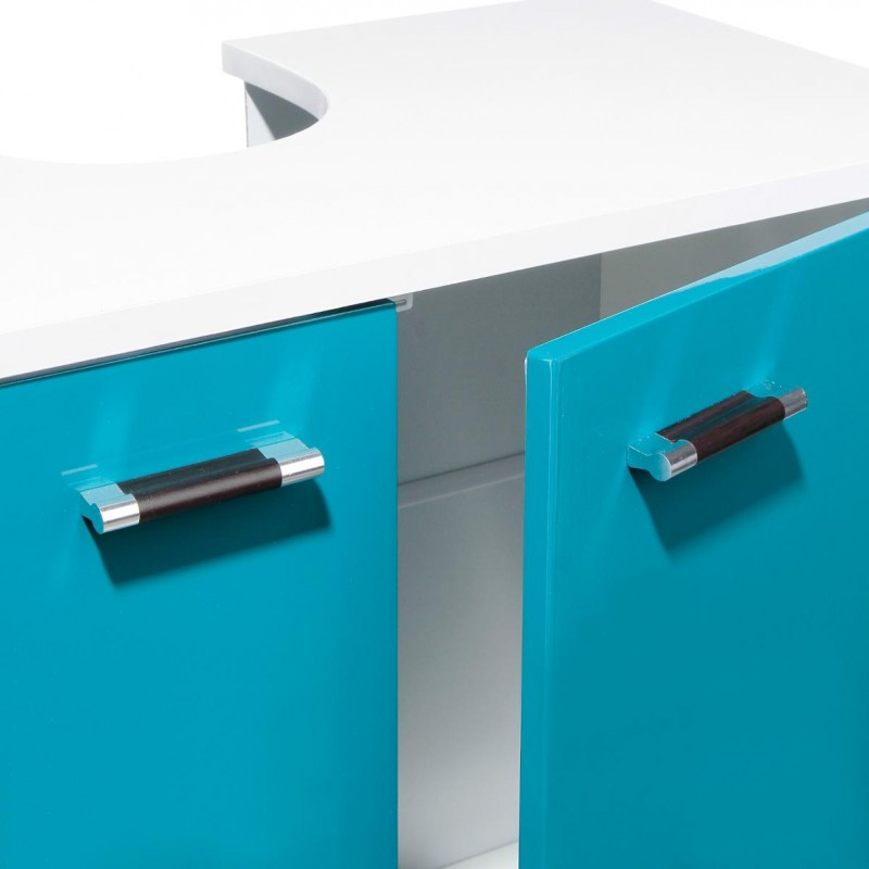 Meuble sous lavabo gloss turquoise for Meuble sous lavabo fly