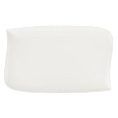 "Lot de 6 Assiettes Plates Rectangulaires ""Vague"" 28cm Blanc"