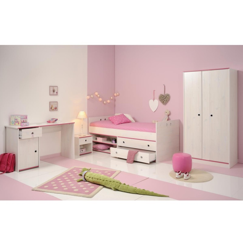lit enfant avec tiroirs 90x190cm cameo rose ou bleu. Black Bedroom Furniture Sets. Home Design Ideas