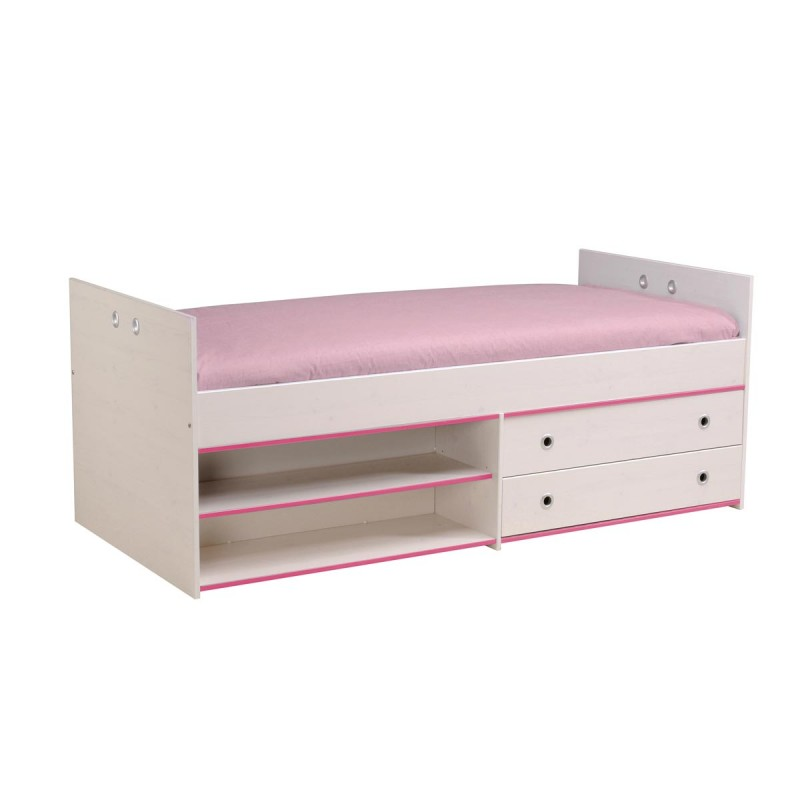 lit enfant avec tiroirs 90x200cm cameo rose ou bleu. Black Bedroom Furniture Sets. Home Design Ideas