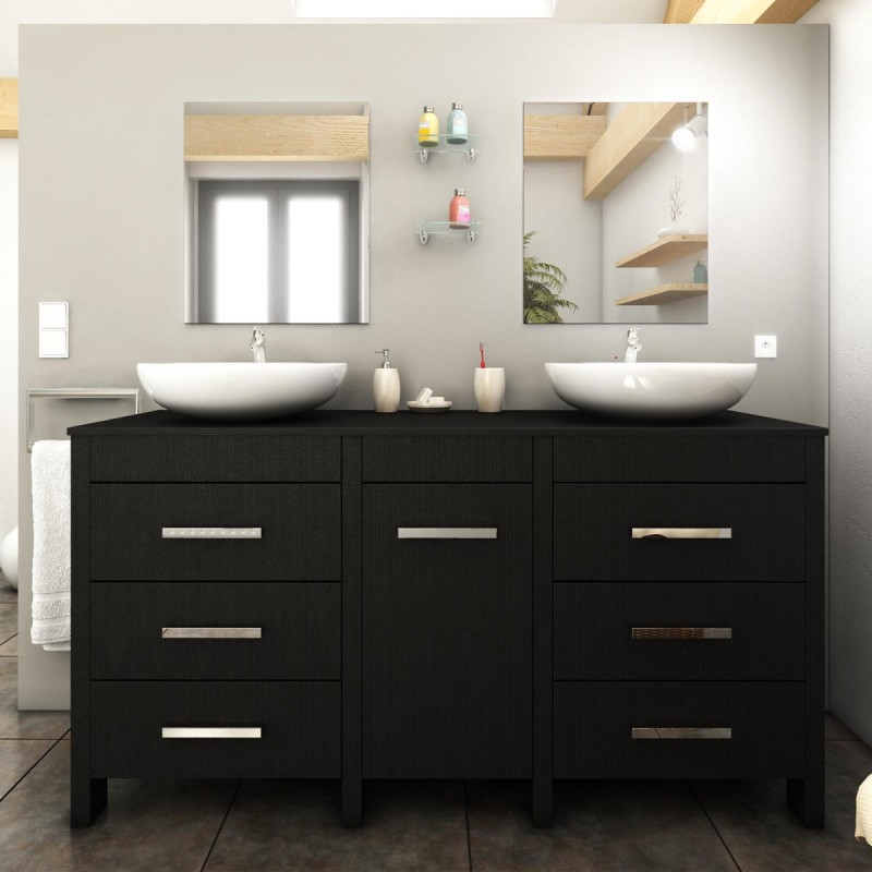 ensemble meuble salle de bain roma 150cm noir. Black Bedroom Furniture Sets. Home Design Ideas