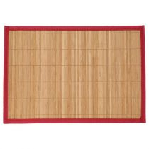 "Set de Table 35x50cm ""Bambou Naturel"" Rouge"