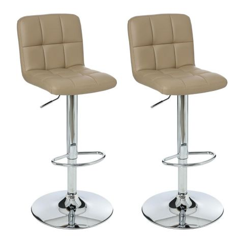 "Lot de 2 Tabourets de Bar ""Delek"" Taupe"