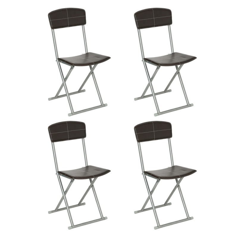 lot de 4 chaises pliantes plastique acier marron. Black Bedroom Furniture Sets. Home Design Ideas