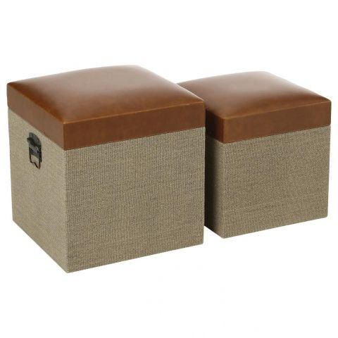 "Lot de 2 Poufs ""New Dandy"" Marron"