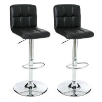 "Lot de 2 Tabourets de Bar ""Delek"" Noir"