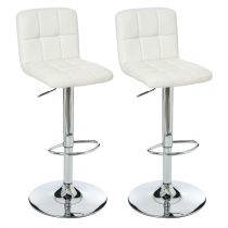 "Lot de 2 Tabourets de Bar ""Delek"" Blanc"